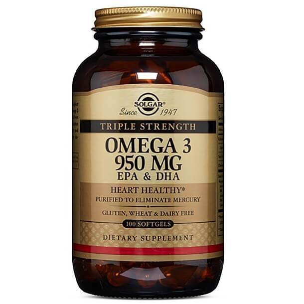 Solgar Triple Strength Omega 3 EPA & DHA 950 MG (100 Softgels)-Solgar
