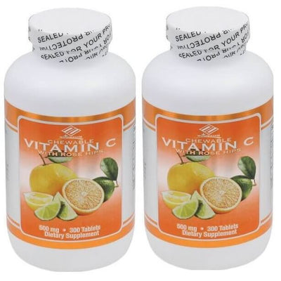 Vitamin C + Rose Hips 500mg per Serving (300 Chewable Tablets) - 2 Bottles-Buy at New Green Nutrition