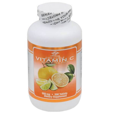 Vitamin C + Rose Hips 500mg (300 Chewable Tablets)-Buy at New Green Nutrition
