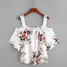 Cold Shoulder Floral and Lace Blouse