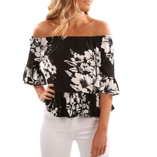 Off the Shoulder Black and White Blouse
