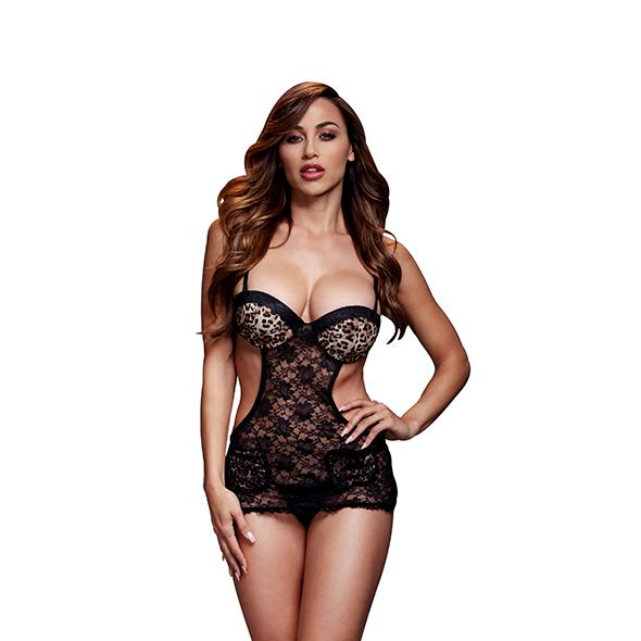 Image of Baci Lace Cut Out Basque Zonder Panty Luipaard