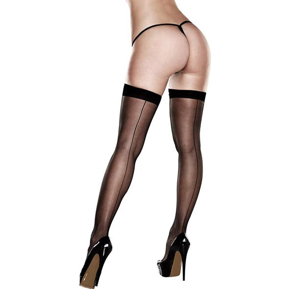 Baci Sheer Thigh Highs With Backseam With Banded Silicone Stay-Up