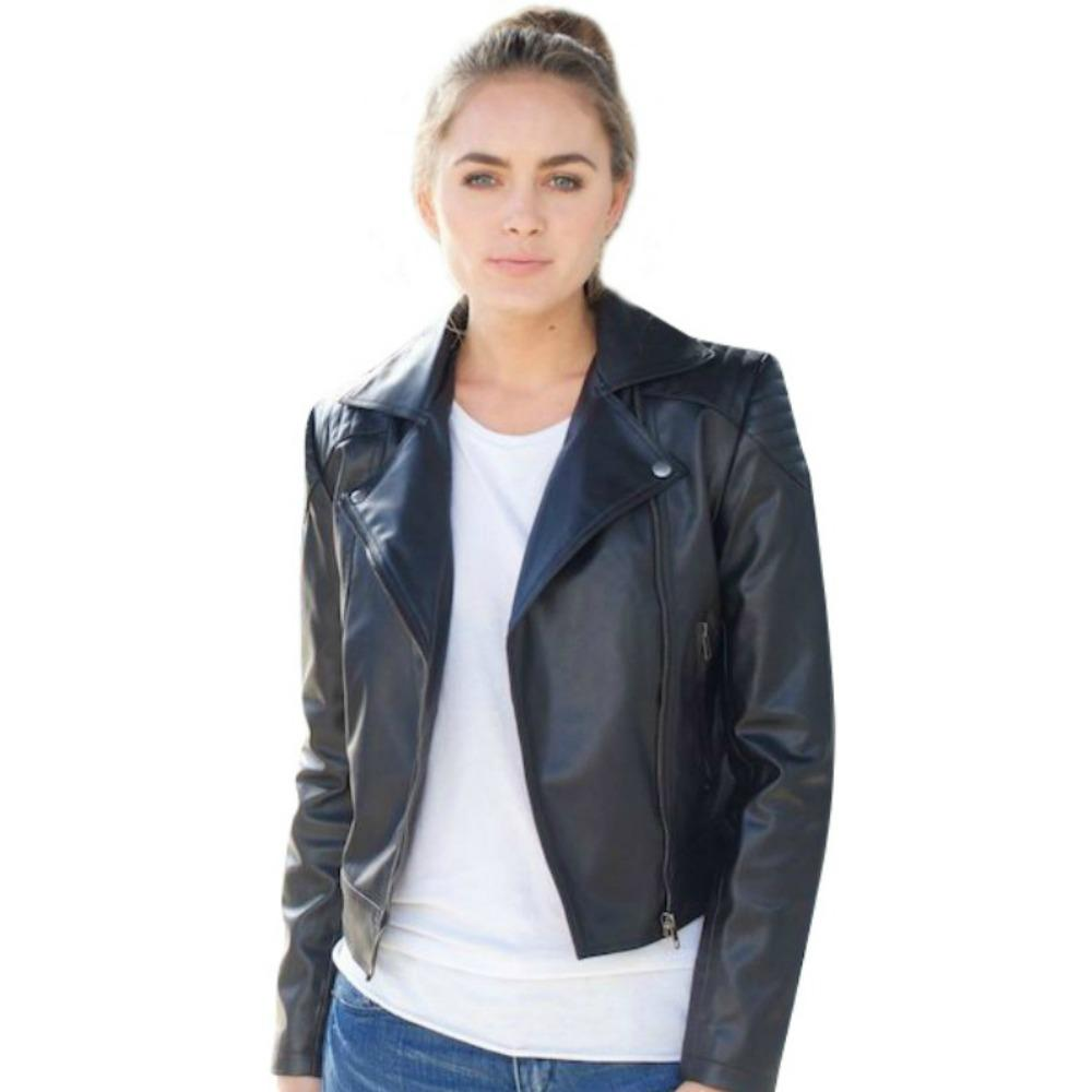 Vegan Leather Motorcycle Jacket Black 'Cassandra'