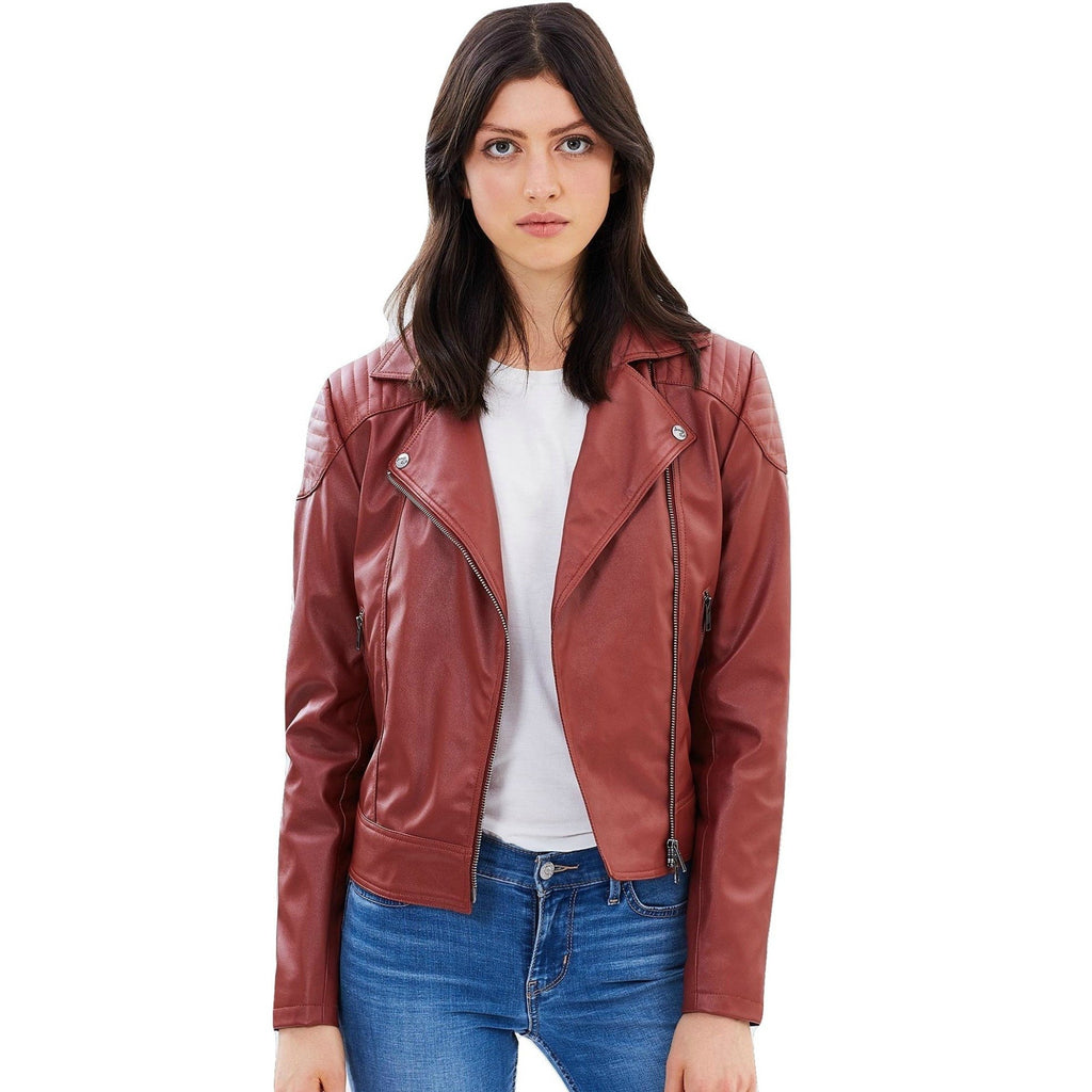 Vegan Leather Biker Burgundy 'Cassandra'
