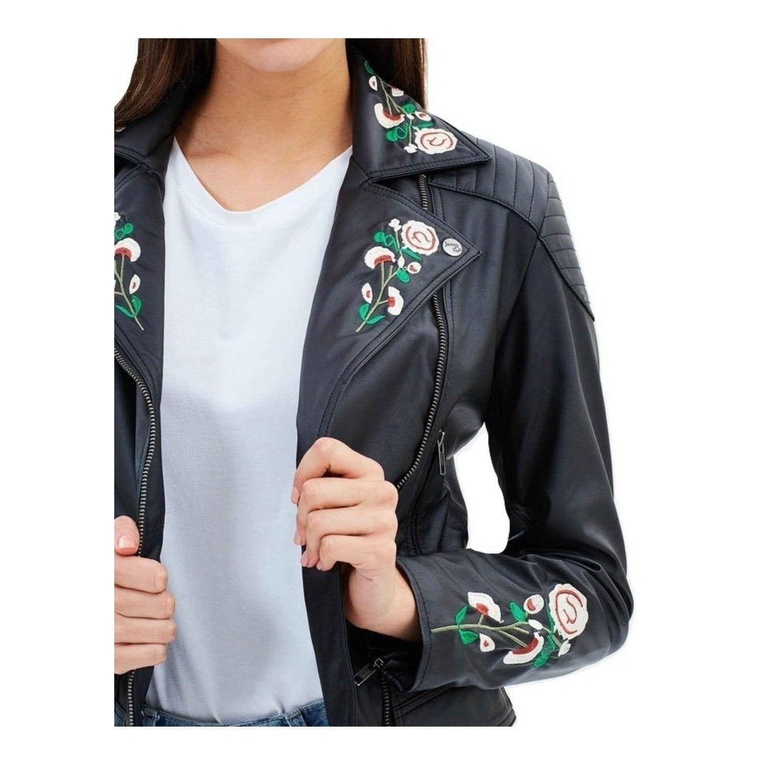 Embroidered Vegan Leather Moto 'Marie'