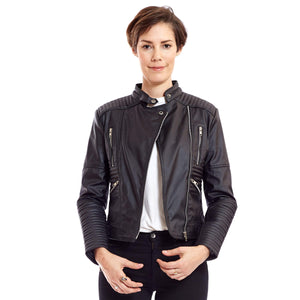 "Ethical Vegan Leather Biker Jacket Quilting Feature 'Zoe"" - au.jamesandco.boutique"