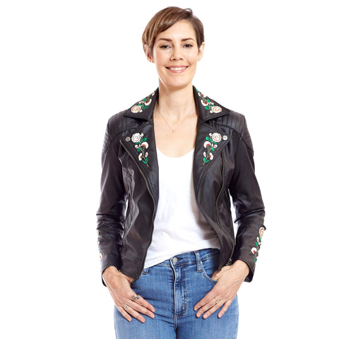 Embroidered Vegan Leather Moto 'Marie' - au.jamesandco.boutique