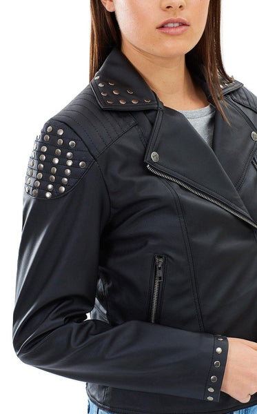 Biker Vegan Leather Jacket Studded 'Maria'