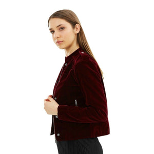 Velvet Moto Jacket 'Ashling' Burgundy - au.jamesandco.boutique