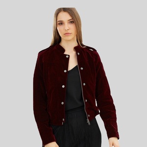 Biker Vegan Jacket Burgundy 'Ashling'