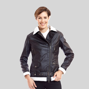 Bomber Vegan Leather Aviator Jacket With White Trim 'Kathryn'