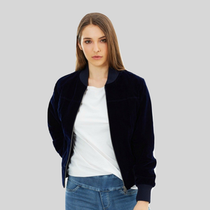 Bomber Vegan Jacket Velvet Blue 'Molly