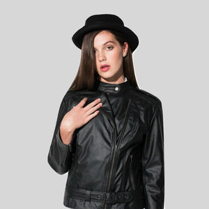 Biker Jacket Vegan Faux Leather Black 'Emma'