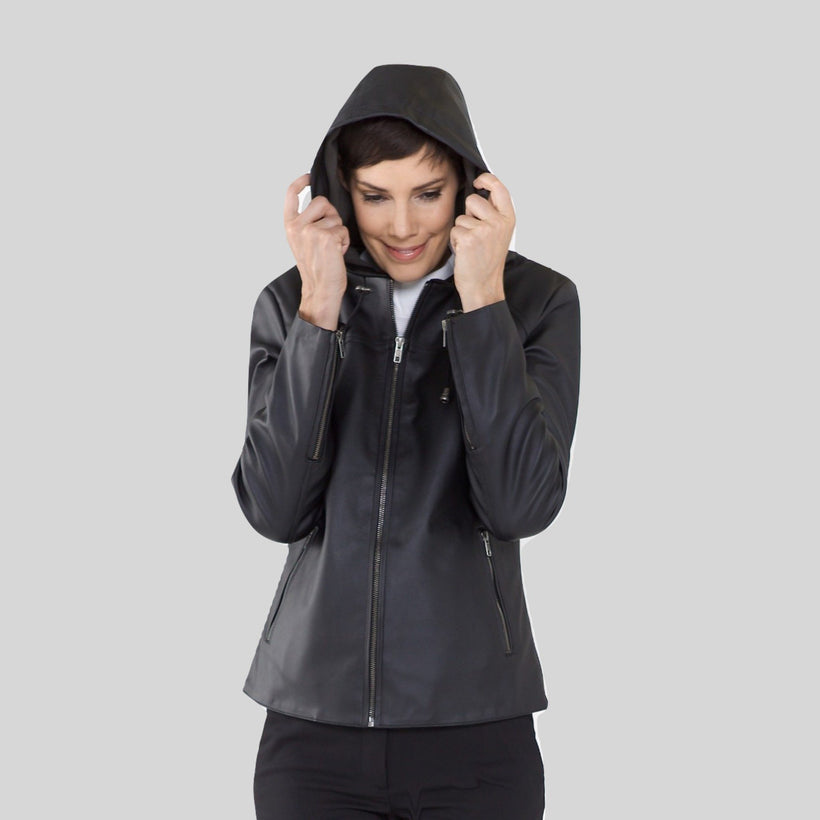 Hooded Vegan Leather Jackets