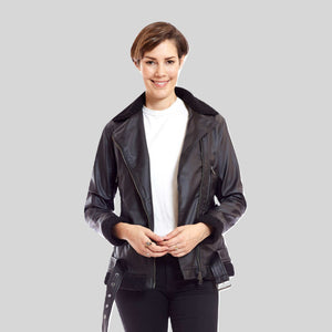 Bomber Vegan Leather Jacket Aviator With Black Trim 'Kathryn'