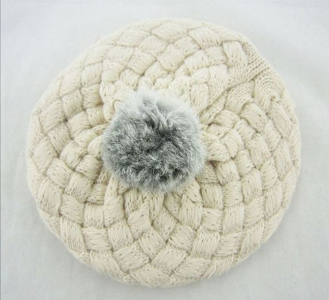 Knitted Hat with Faux Fur Pouf