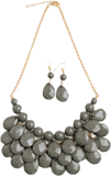 Grey teardrop bubble bib necklace