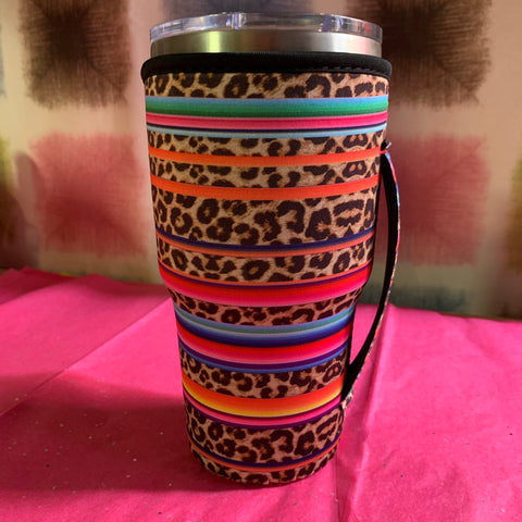 Leopard and serape 30 oz tumbler koozie