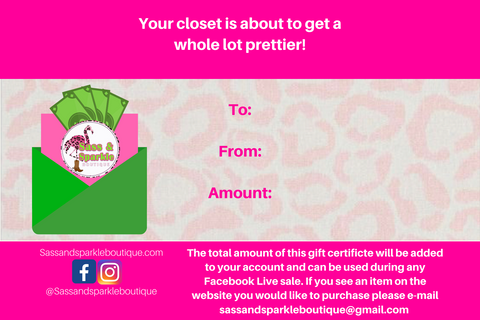 SALE Gift Certificate