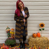 Navy and yellow geometric print cardigan