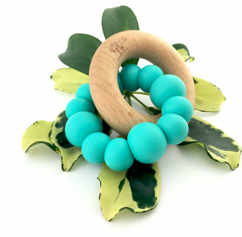 BLOK TEETHER SILICONE AND BEECH WOOD