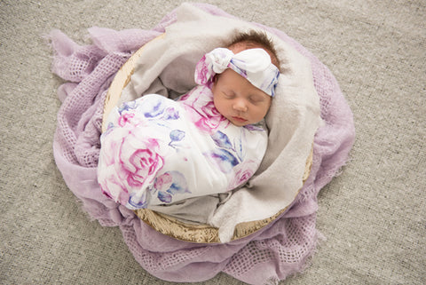 LILAC SKIES BABY WRAP/BLANKET WITH MATCHING TOPKNOT