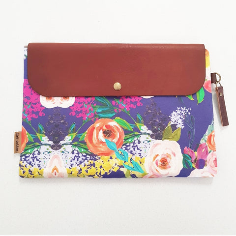 PURPLE FLOWER LARGE NAPPY CLUTCH/WALLET