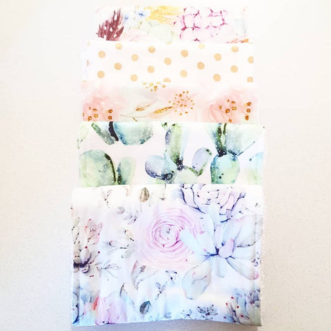 WATERCOLOUR CACTUS BURP CLOTHS- SET OF 5
