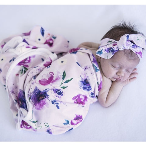FLORAL KISS BABY WRAP/BLANKET AND TOPKNOT SET