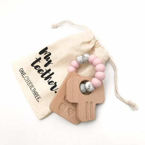 KEYS TO MY HEART SILICONE AND BEACH WOOD TEETHER