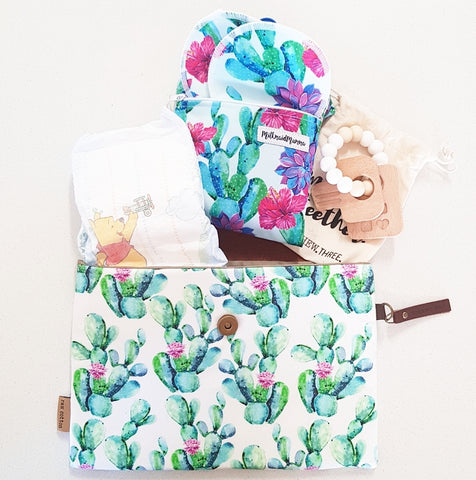 CACTUS FLOWER LARGE NAPPY CLUTCH/WALLET