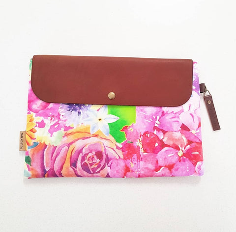 PINK FLORAL LARGE NAPPY CLUTCH/WALLET