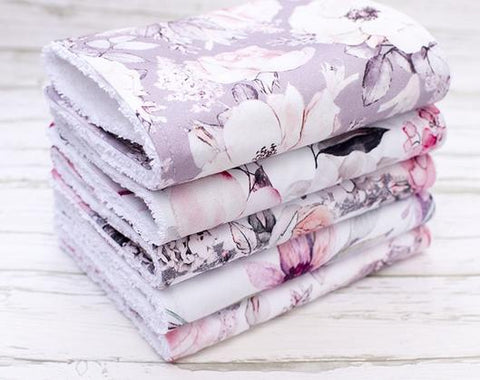 LILAC FLORAL BURP CLOTHS - SET OF 5