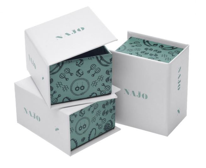 NAJO FLAT BEATEN TUBE BANGLE WITH COIL Packaging