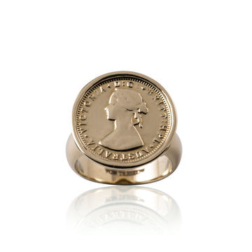LUXE | YELLOW GOLD THREEPENCE TOKEN RING
