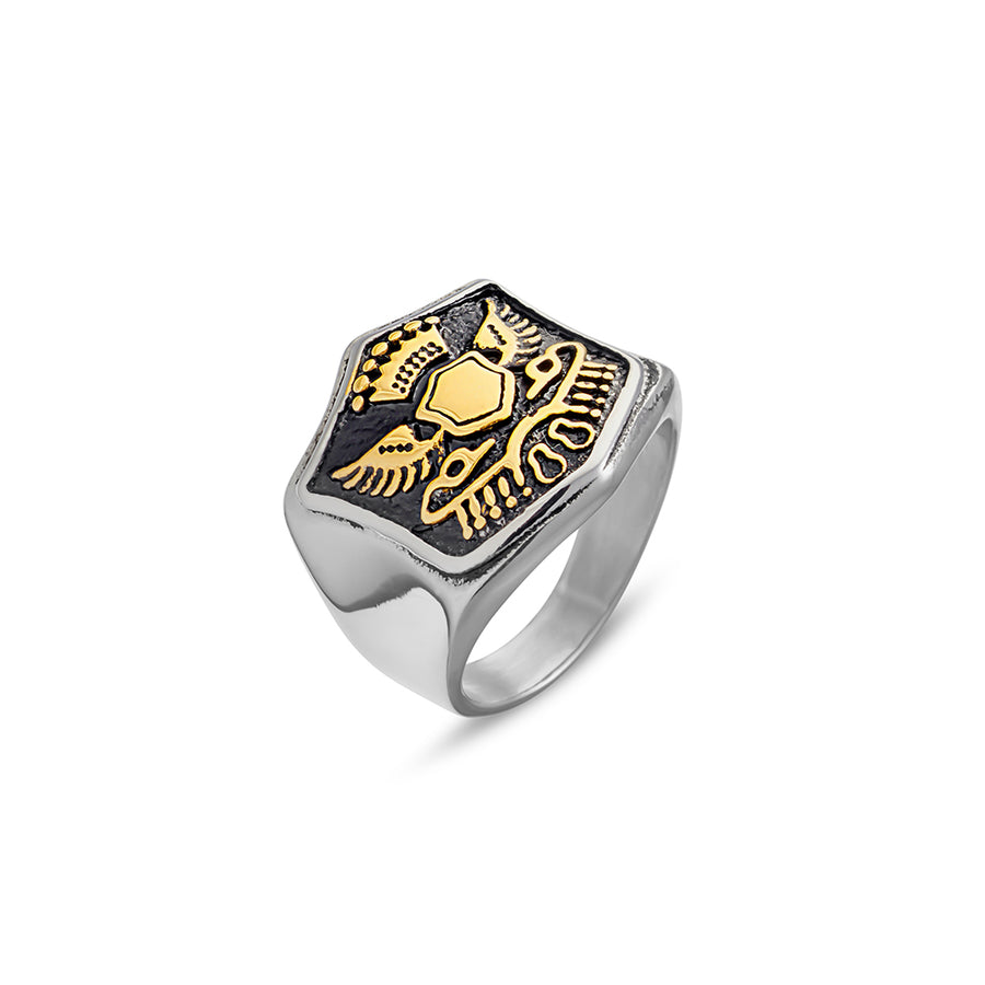MENS SHIELD GOLD DETAIL RING