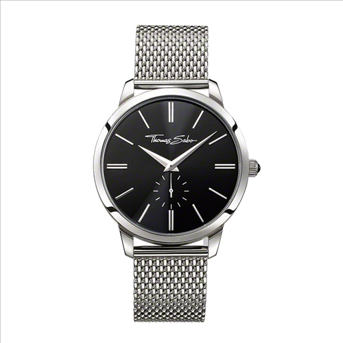 THOMAS SABO CLASSIC STEEL MESH BRACELET BLACK DIAL WATCH