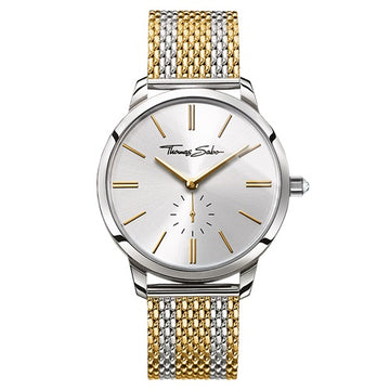 STEEL AND YELLOW MESH BRACELET WATCH