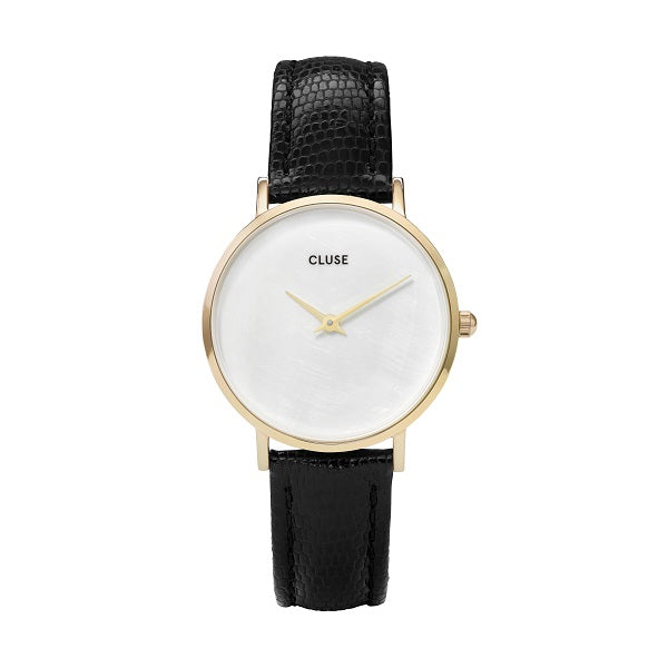 CLUSE MINUIT LA PERLE GOLD BLACK LIZARD PEARL WATCH