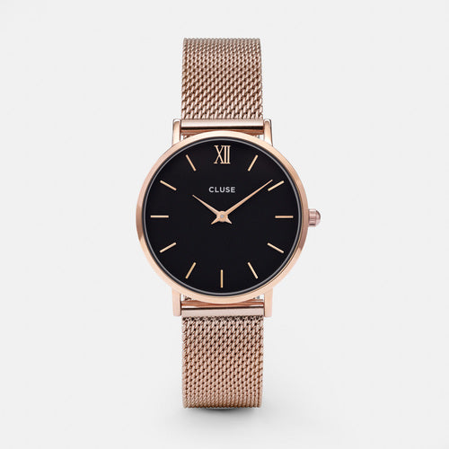 MINUIT ROSE GOLD/BLACK WATCH