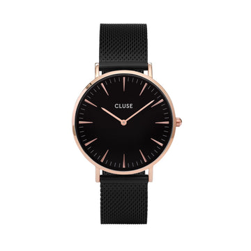 BOHO CHIC MESH ROSE GOLD BLACK/BLACK WATCH