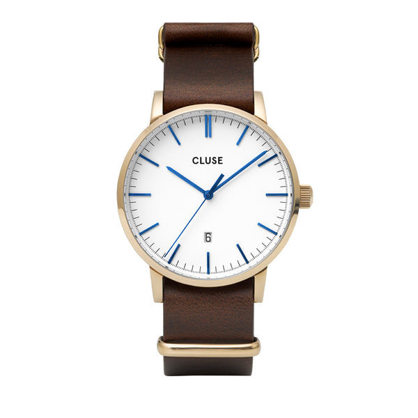 CLUSE ARAVIS GOLD WHITE//BROWN LEATHER NATO