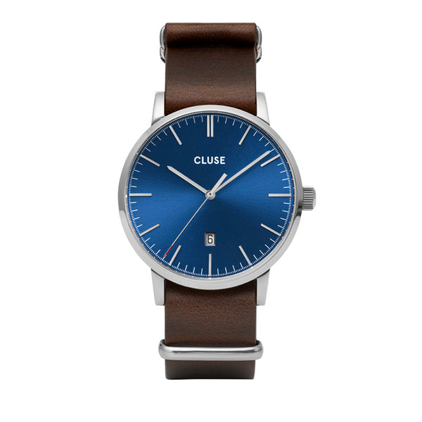 CLUSE ARAVIS SILVER BLUE//BROWN LEATHER NATO