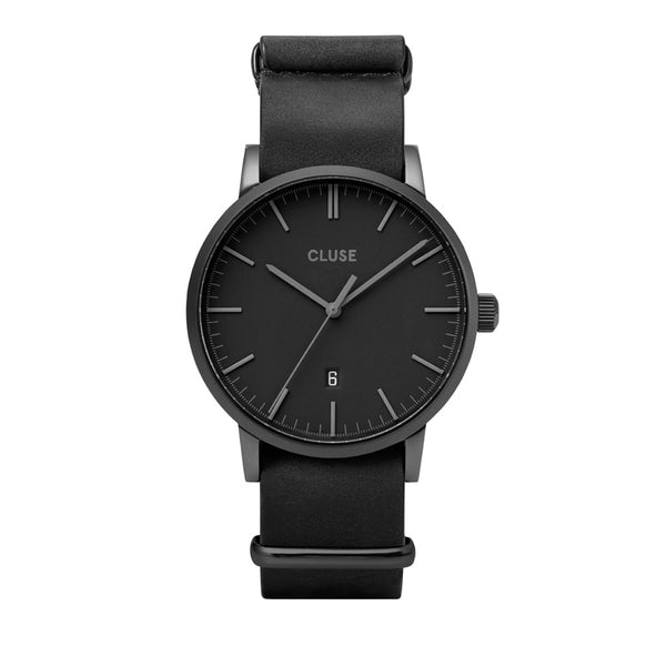 CLUSE ARAVIS BLACK//BLACK LEATHER NATO