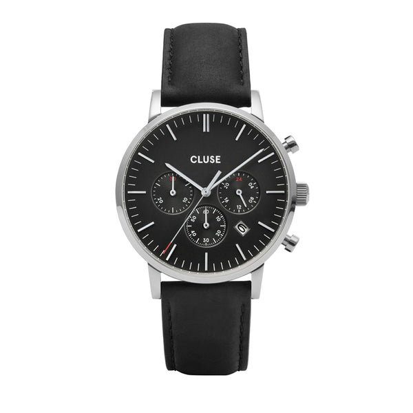 CLUSE ARAVIS SILVER CHRONO//BLACK LEATHER