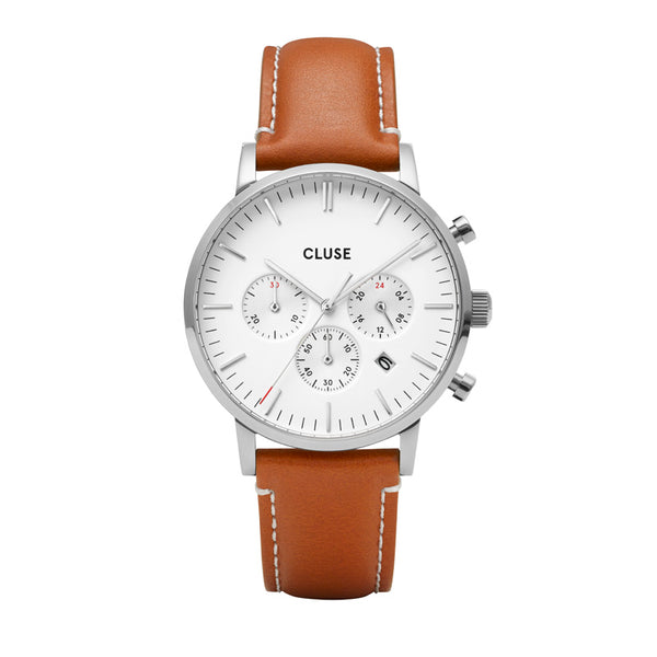 CLUSE ARAVIS SILVER CHRONO//LIGHT BROWN LEATHER