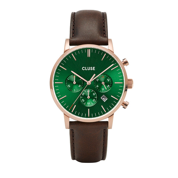 CLUSE ARAVIS ROSE GOLD GREEN CHRONO//DARK BROWN LEATHER