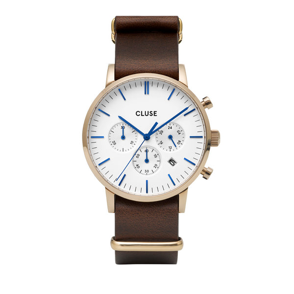 CLUSE ARAVIS YELLOW GOLD CHRONO//DARK BROWN LEATHER NATO