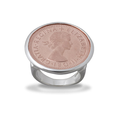 2 TONE ROSE SHILLING COIN RING